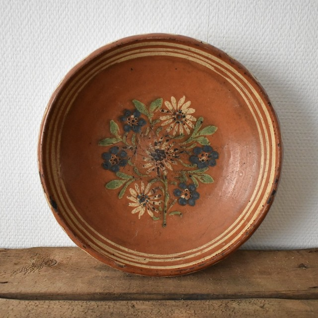Rustic Redware Pottery large flower plate