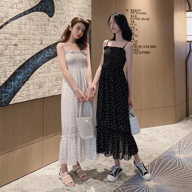 【dress】スウィートギャザー飾りボートネックプルオーバーキャミワンピース