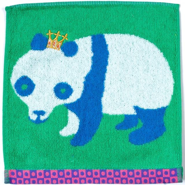 ひびのこづえ KING ミニタオル / パンダ グリーン 25x25cm 綿100% KH14-04