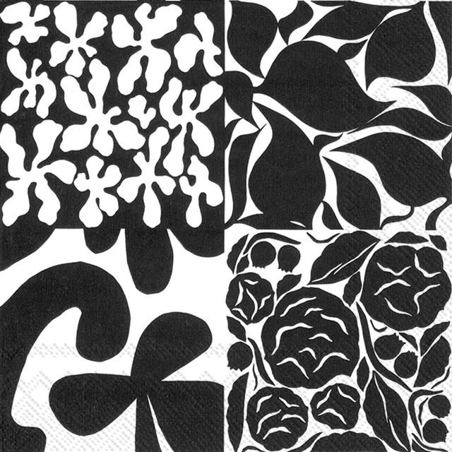 2021春夏新作【marimekko】バラ売り2枚 カクテルサイズ ペーパーナプキン RUUDUT ブラック