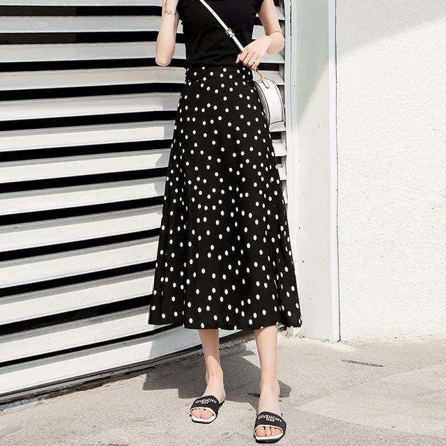 【skirt】好感度UPシフォンドット柄ハイウエストAラインスカート