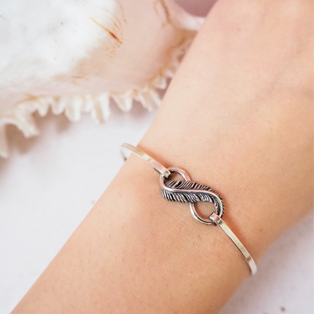 Infinity Feather Hoop Silver Bangle《SILVER925》8380429