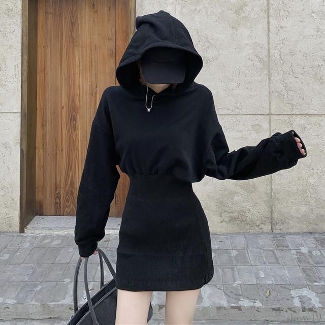 【ワンピース】カジュアル合わせやすい気質溢れる フード付き 長袖セクシーワンピース33786785