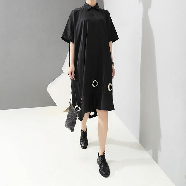ファション シャツワンピース 折り襟 半袖 着心地良い 着痩せ 大きいサイズ オリジナルデザイン ロングワンピース ブラック