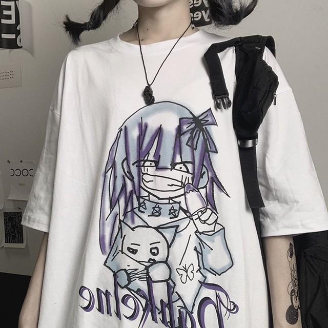【トップス】絶対可愛い キュート カートゥーン アルファベット プリント Tシャツ42525346