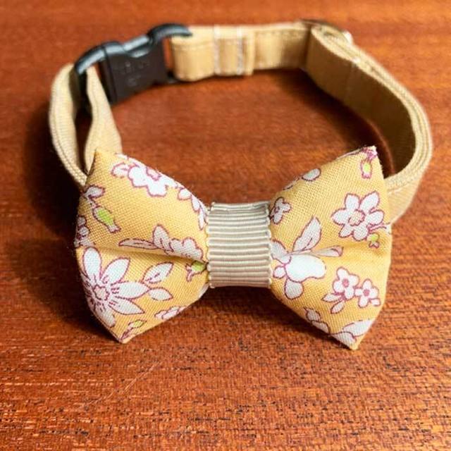 【送料無料】猫の首輪 リボン首輪 グログランリボン 花柄 イエロー
