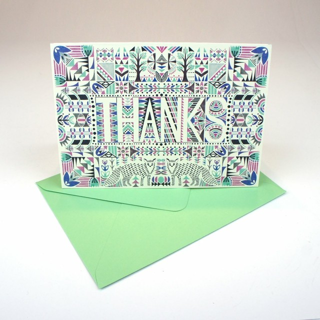 Greeting Card - Foxes Aztec Thanks
