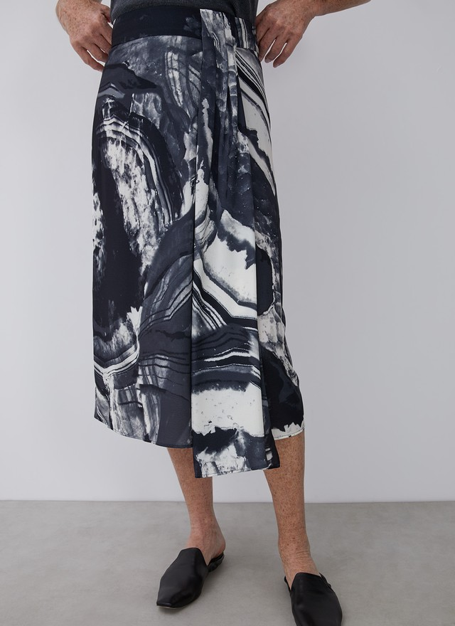 MIDI PRINTED SKIRT WITH SIDE GODET
