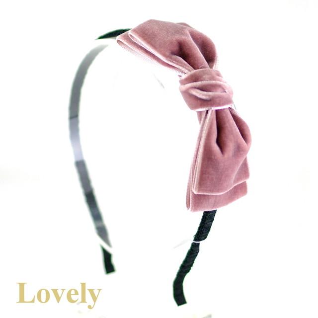 【カチューシャ】<ベルベット>スタンダード おリボン カチューシャ・ピンク
