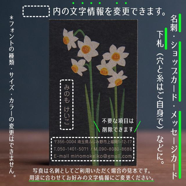 名刺 テンプレート 印刷|MTG-018 水仙|用紙は白色がきれいな凹凸のあるやさしい雰囲気のモデラトーンGAピュアが特におすすめ