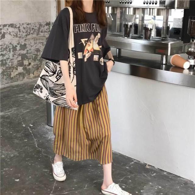 【送料無料】お得なセットアップ♡ ビッグサイズ ロックプリント Tシャツ × ボーダースカート