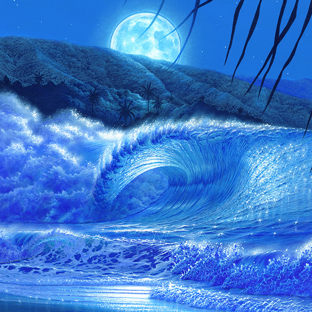 「Perfect Big Wave Under The Moonlight」
