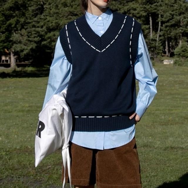 College like knit best( カレッジライクニットベスト)b-425