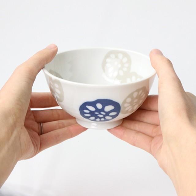 レンコン模様のご飯茶碗(青)【SL-0067_MP】