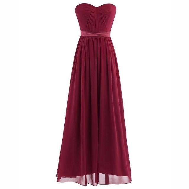 CFL015 シフォンロングドレス ワインレッド