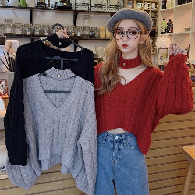 【トップス】ファッションVネックルーズ着痩せ合わせやすいニットセーター25723826