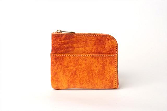 L字型スモールウォレット(アニリン仕上げ) カラー:オレンジ