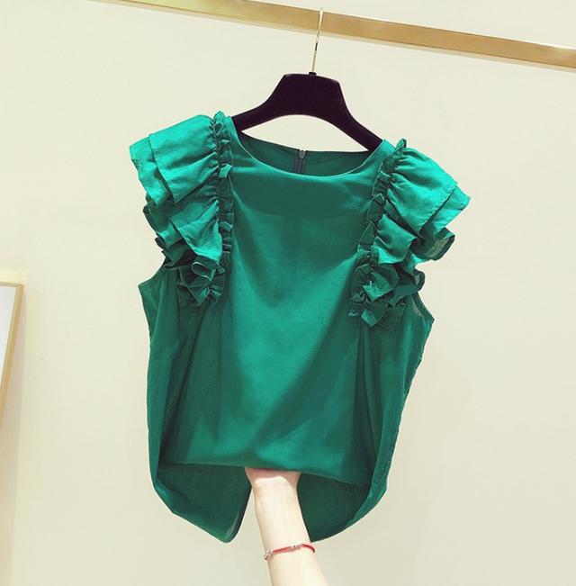 フリルノースリーブシャツ★全2色_2020S/S