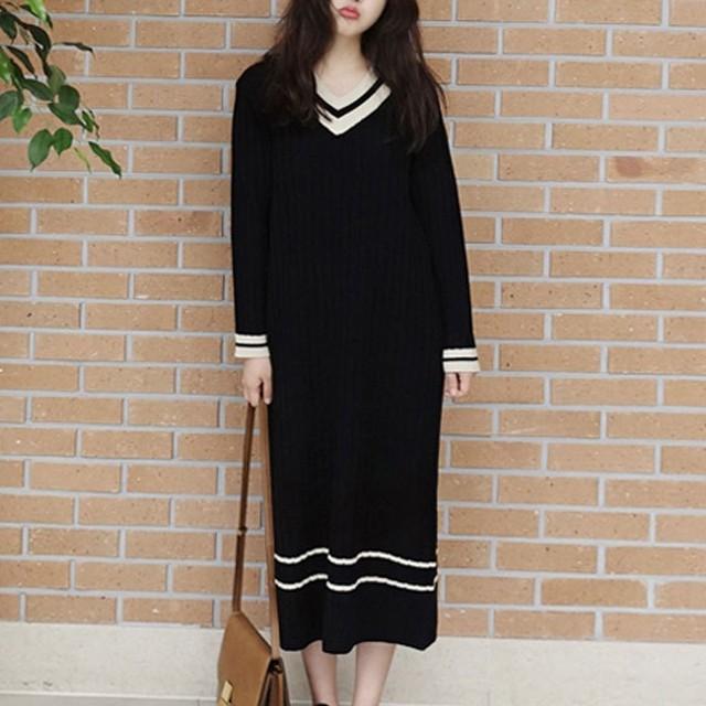 【dress】切り替えvネック絶妙な雰囲気ワンピース 24360302