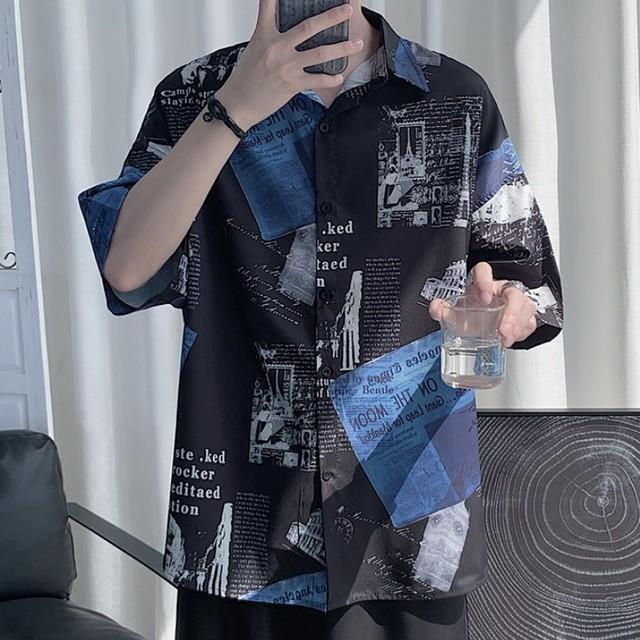 【メンズファッション】個性的なデザイン 落書き 切り替えし プリント ファッション好感度UP 超人気 メンズシャツ47357499