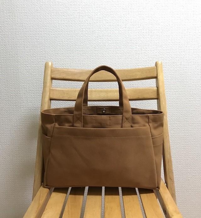 (受注生産)「ボックストート」横長サイズ 「グレー×マスタード」 倉敷帆布8号 和泉木綿