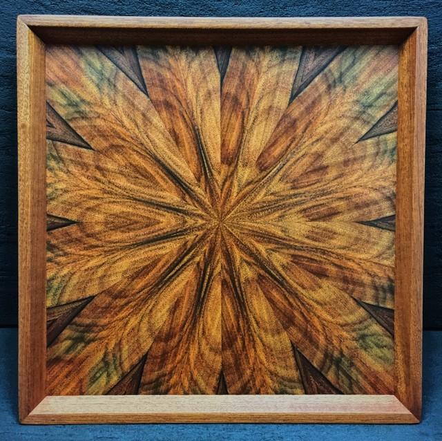 パープルウッド(morado) 光線貼り正方形のトレー 0050