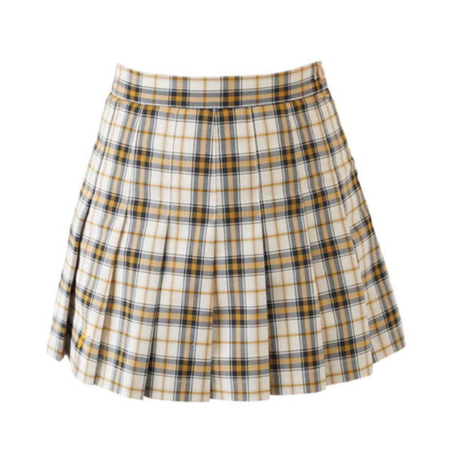【Used】Girlish Check Skirt (Mustard)
