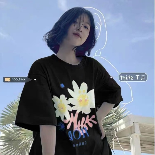 【トップス】韓国系半袖ラウンドネックプルオーバーTシャツ47441630