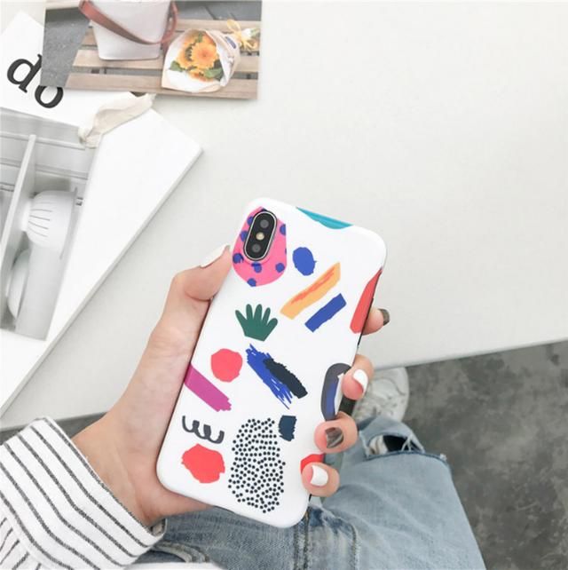 【オーダー商品】グラフィックアート カラフル iphoneケース 可愛い 韓国 秋冬 韓国ファッション