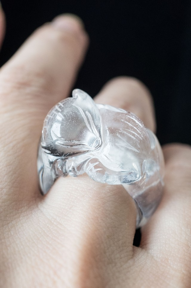 Carving Quartz Ring  Baby Ninetails Fox