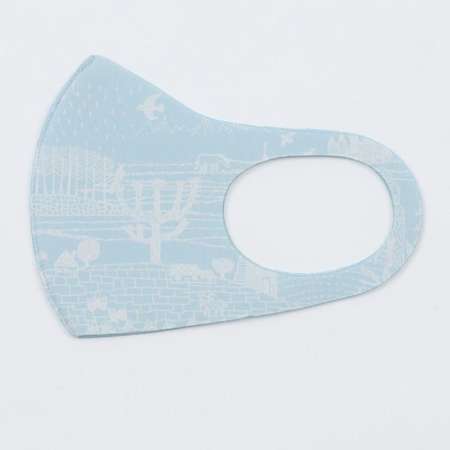 ひびのこづえ 制菌マスク / ある一日 ブルー キシリトール加工 肌に密着 吸湿冷感 Mサイズ