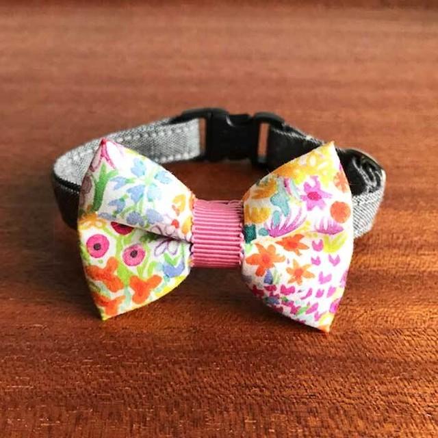 Cat ribbon collar 猫の首輪 リボン首輪 北欧カラフルフラワー  ホワイトリボン&グレーベルト 【送料無料】
