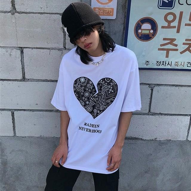 【トップス】ハート図柄ファッションストリート系半袖Tシャツ47060766