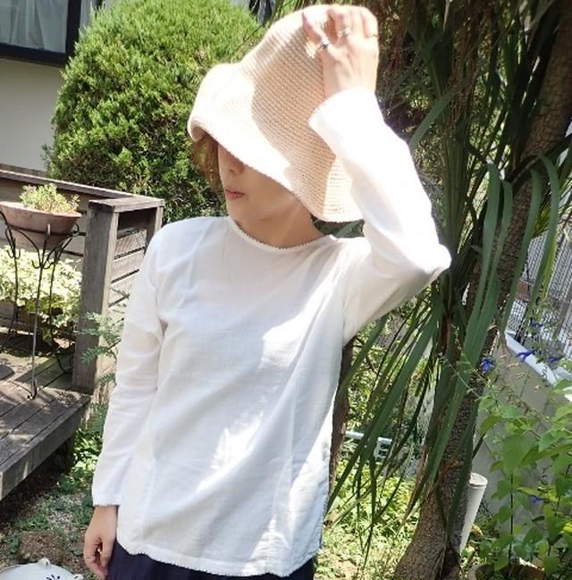 チェンマイ コットン100%刺し子とボタンがかわいい長袖プルオーバー 白色