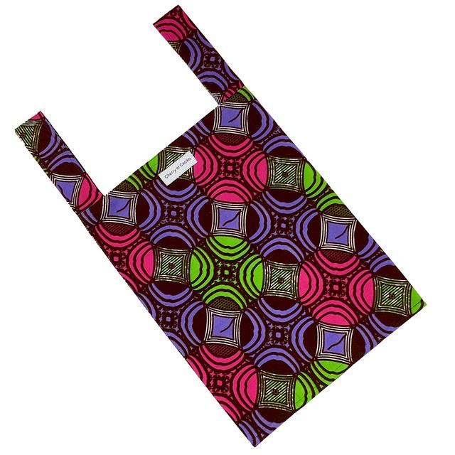 エコバッグ 幾何学 パープル × ピンク × グリーン × ブラウン(日本縫製)|レジバッグ サブバッグ 布バッグ 手さげ 買い物 旅行 トラベル アフリカンプリント アフリカンファブリック アフリカンバティック パーニュ キテンゲ アフリカ布 ガーナ布 エスニック