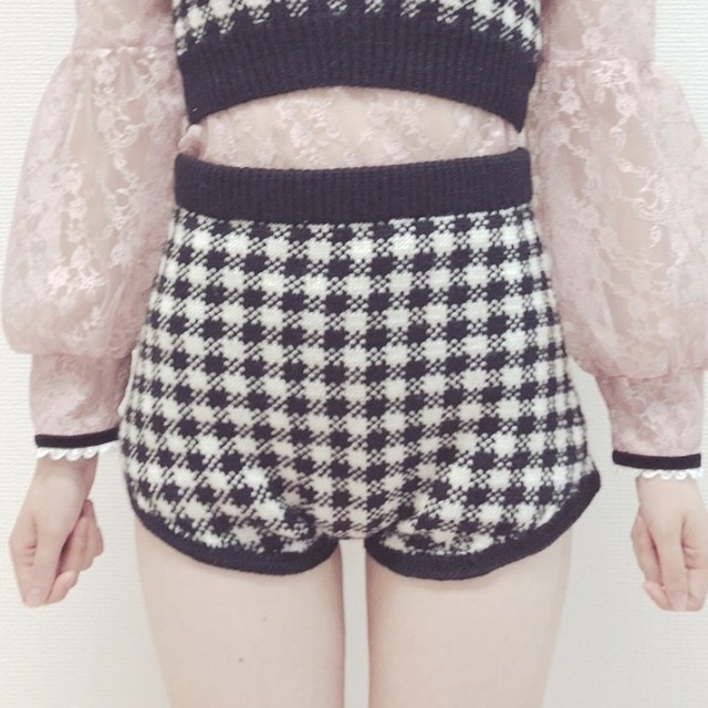 18AW gingham knit pants ○2colors