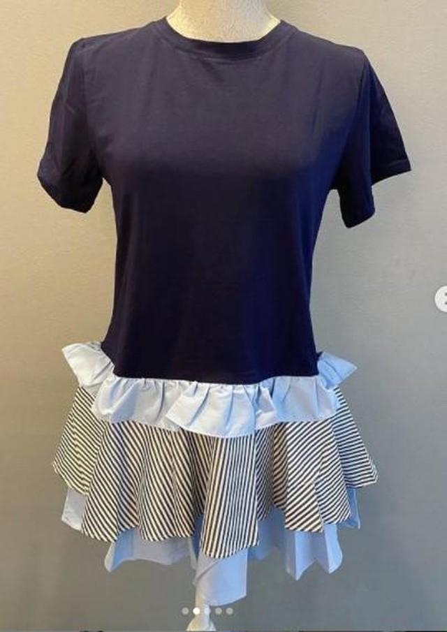 熊本 鶴屋百貨店 popupshop 先行発売商品【ワンピース】ストライプフリル Tシャツ チュニック・ネイビー