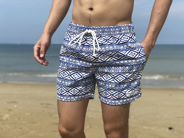 【7/13 0:00 ReStock 送料無料】ThreeArrows Print Board Shorts(blue pattern)
