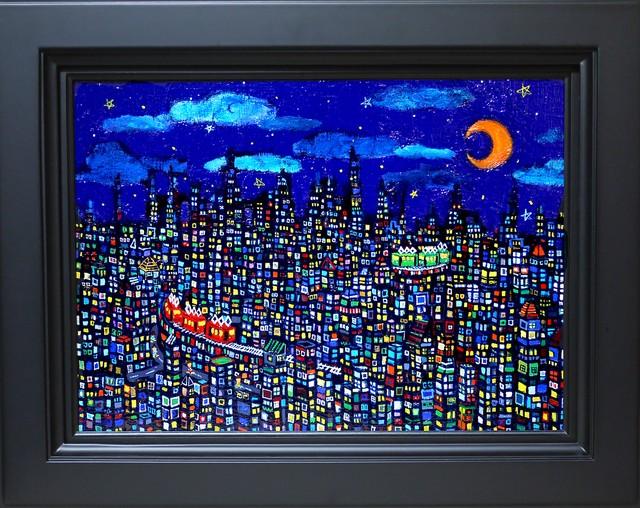 油彩画*夜のまち*2017