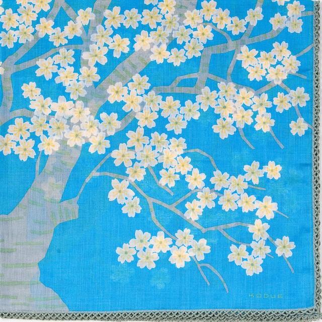 ひびのこづえ 桜の森の満開の下 / ブルー 大判ハンカチ レース付き 刺繍入り 58x58cm KH19-04