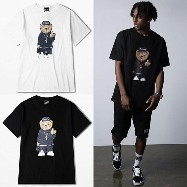 ユニセックス 半袖 Tシャツ メンズ レディース F××Kポーズ ベアー クマちゃん プリント オーバーサイズ 大きいサイズ ルーズ ストリート TBN-534666468502