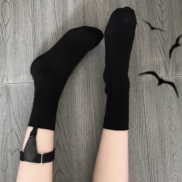 【アクセサリー】ストリート系綿無地シンプル透かし彫り靴下21829148