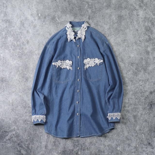 レディース フラワー刺繍レース デニムシャツ アメリカ古着 コットン ライトブルー M〜Lサイズ相当