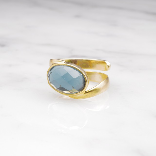 SINGLE STONE WAVE RING GOLD 003