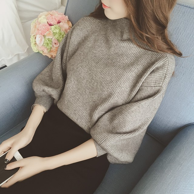 【tops】レトロ配色Vネックゆったりニットセーター