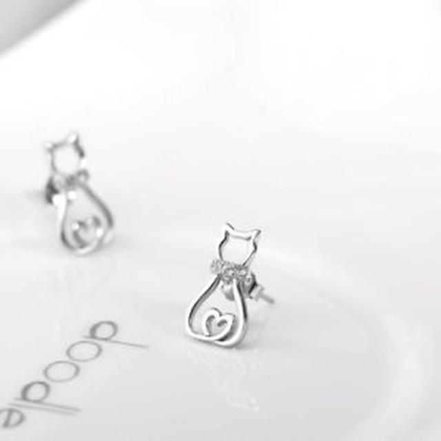 【送料無料】イヤリングスタッドイヤリングボックスcat earrings sterling silver stud earrings gifts for cat lover with gift box