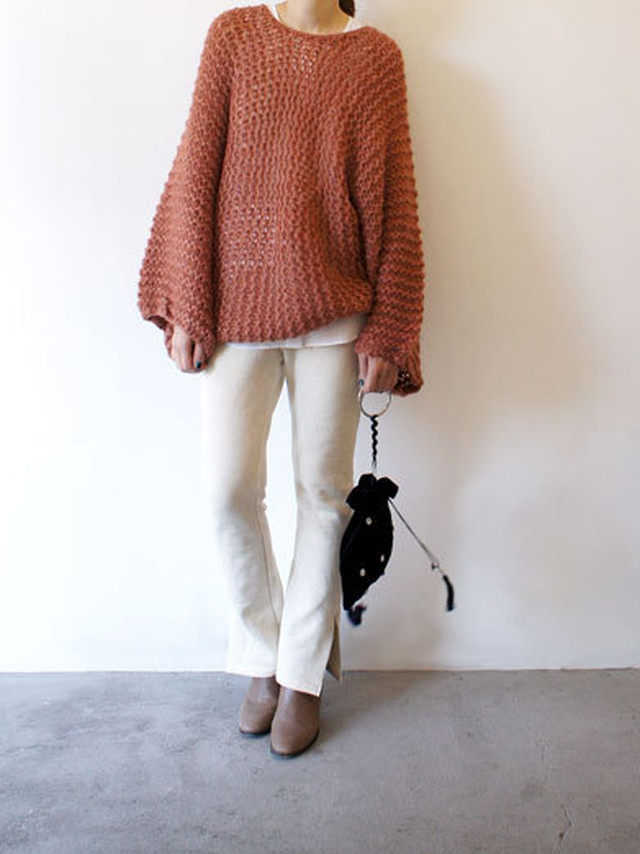 モヘヤ手編みニット / Akari H