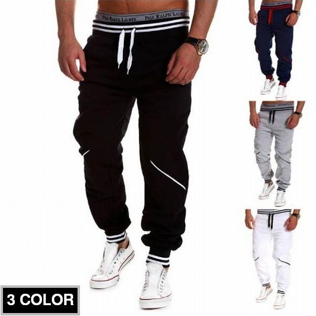 MEN'S ELASTIC WAIST SPORT JOGGER TROUSERS LOOSE PANTS / スポーツジョガーツルーザールースパンツ M/L/XL/2XL (DCT-585027051109)