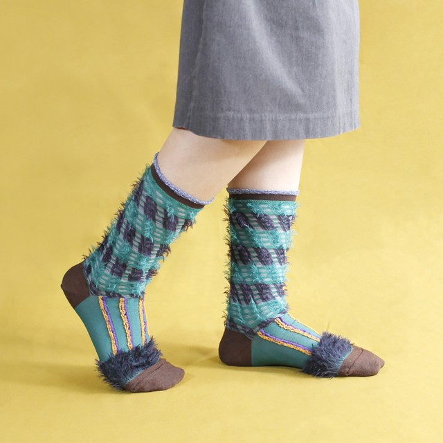 【COQ textile】ミケネコテイル・ソックス(グリーン)/リバーシブル仕様