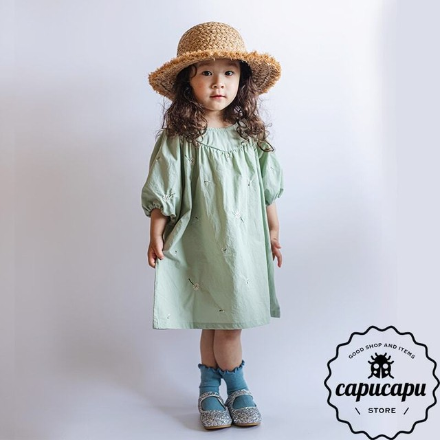 «予約» mint green embroidery one-piece